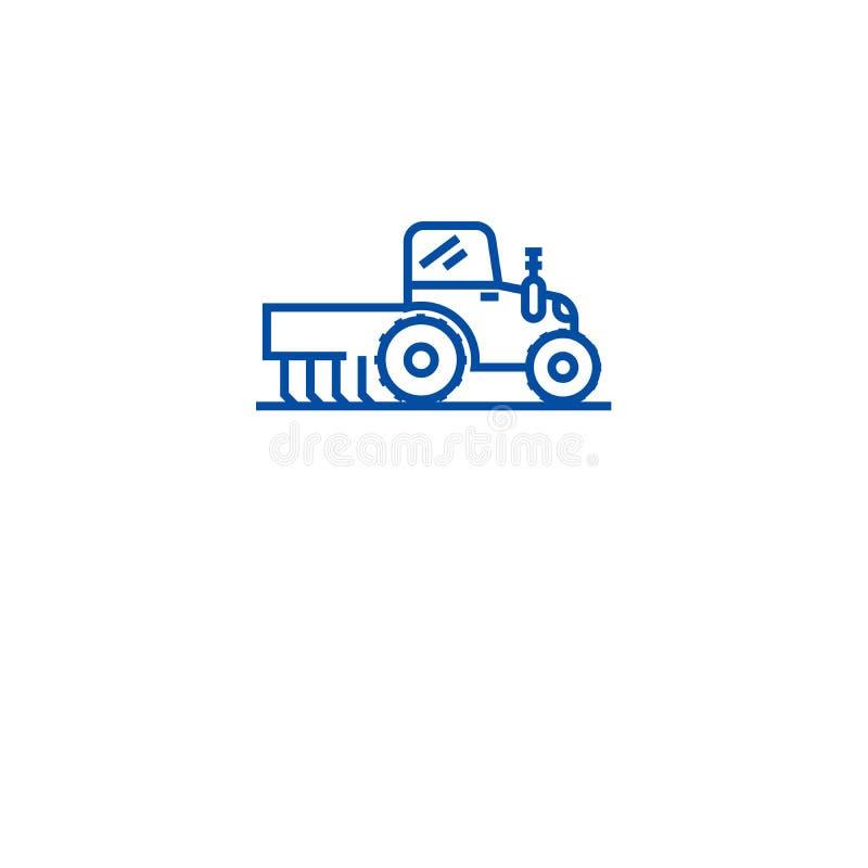 Έννοια εικονιδίων γραμμών λιπάσματος τρακτέρ Επίπεδο διανυσματικό σύμβολο λιπάσματος τρακτέρ, σημάδι, απεικόνιση περιλήψεων ελεύθερη απεικόνιση δικαιώματος
