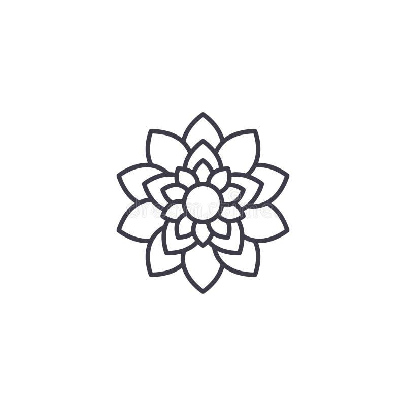 Έννοια εικονιδίων γραμμών λουλουδιών Lotus Επίπεδο διανυσματικό σημάδι λουλουδιών Lotus, σύμβολο, απεικόνιση διανυσματική απεικόνιση