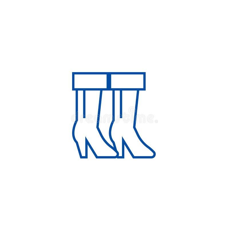 Έννοια εικονιδίων γραμμών μποτών κάουμποϋ Επίπεδο διανυσματικό σύμβολο μποτών κάουμποϋ, σημάδι, απεικόνιση περιλήψεων διανυσματική απεικόνιση
