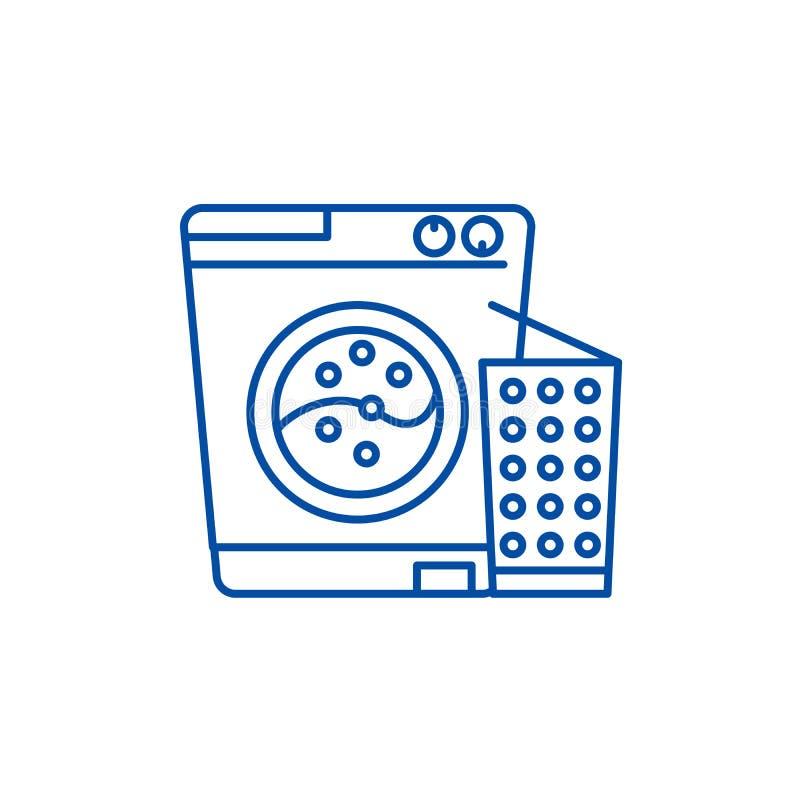 Έννοια εικονιδίων γραμμών πλυντηρίων Επίπεδο διανυσματικό σύμβολο πλυντηρίων, σημάδι, απεικόνιση περιλήψεων διανυσματική απεικόνιση