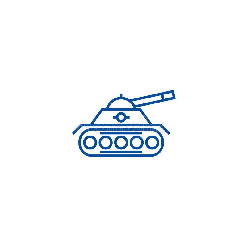 Έννοια εικονιδίων γραμμών πολεμικών δεξαμενών Επίπεδο διανυσματικό σύμβολο πολεμικών δεξαμενών, σημάδι, απεικόνιση περιλήψεων απεικόνιση αποθεμάτων
