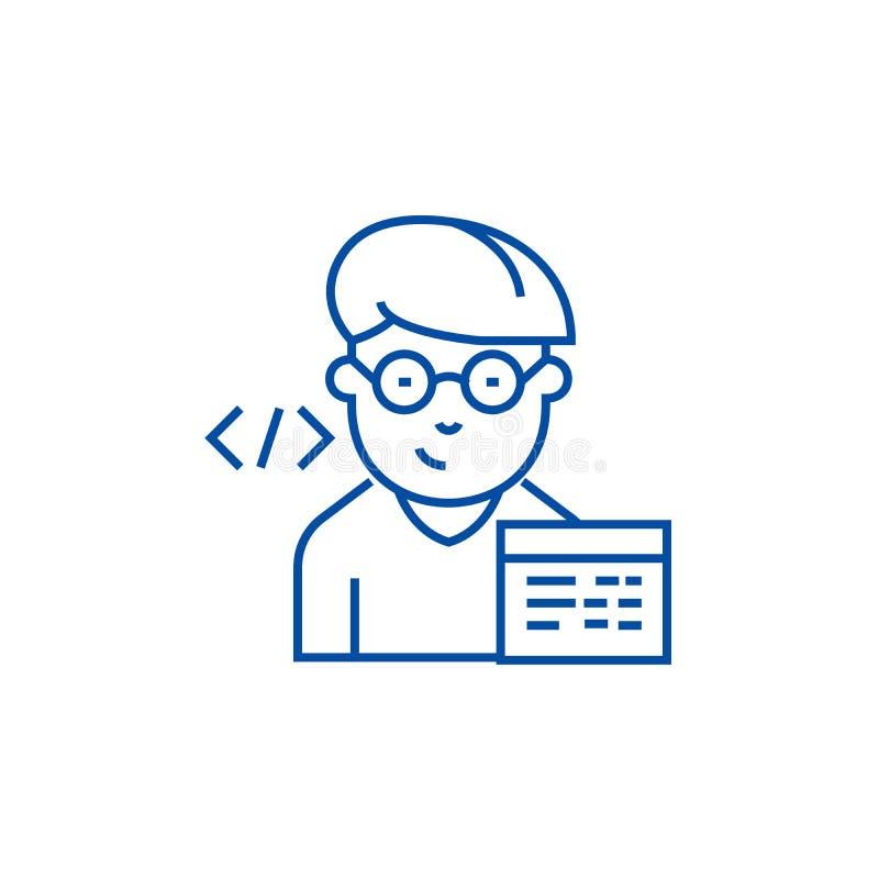 Έννοια εικονιδίων γραμμών προγραμματιστών Επίπεδο διανυσματικό σύμβολο προγραμματιστών, σημάδι, απεικόνιση περιλήψεων διανυσματική απεικόνιση