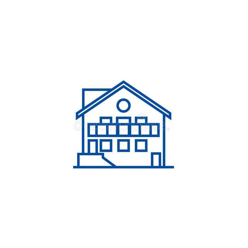 Έννοια εικονιδίων γραμμών σαλέ Επίπεδο διανυσματικό σύμβολο σαλέ, σημάδι, απεικόνιση περιλήψεων ελεύθερη απεικόνιση δικαιώματος