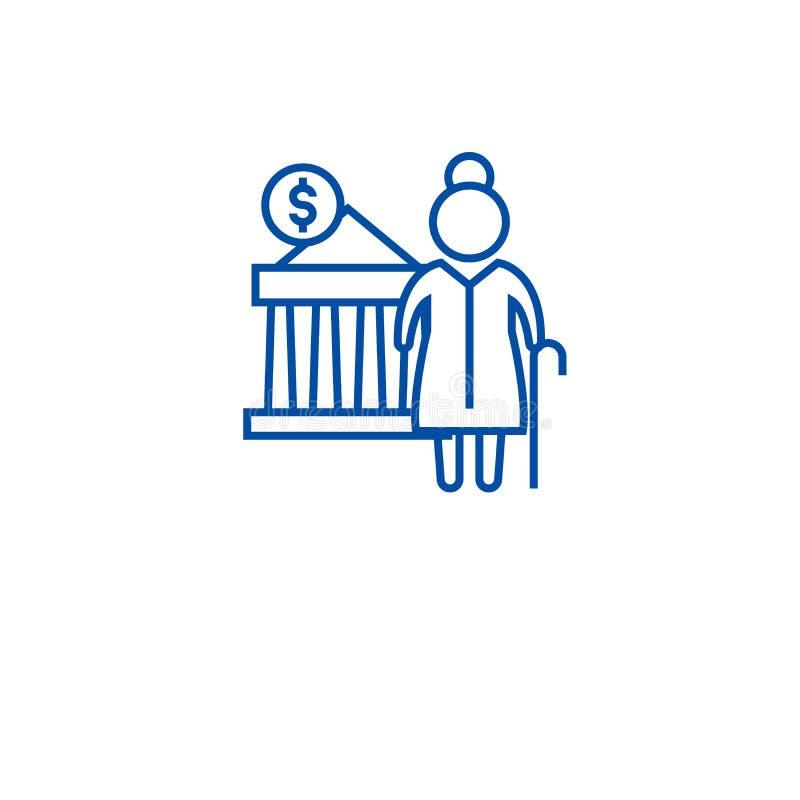 Έννοια εικονιδίων γραμμών συνταξιοδοτικών συνεισφορών Επίπεδο διανυσματικό σύμβολο συνταξιοδοτικών συνεισφορών, σημάδι, απεικόνισ διανυσματική απεικόνιση