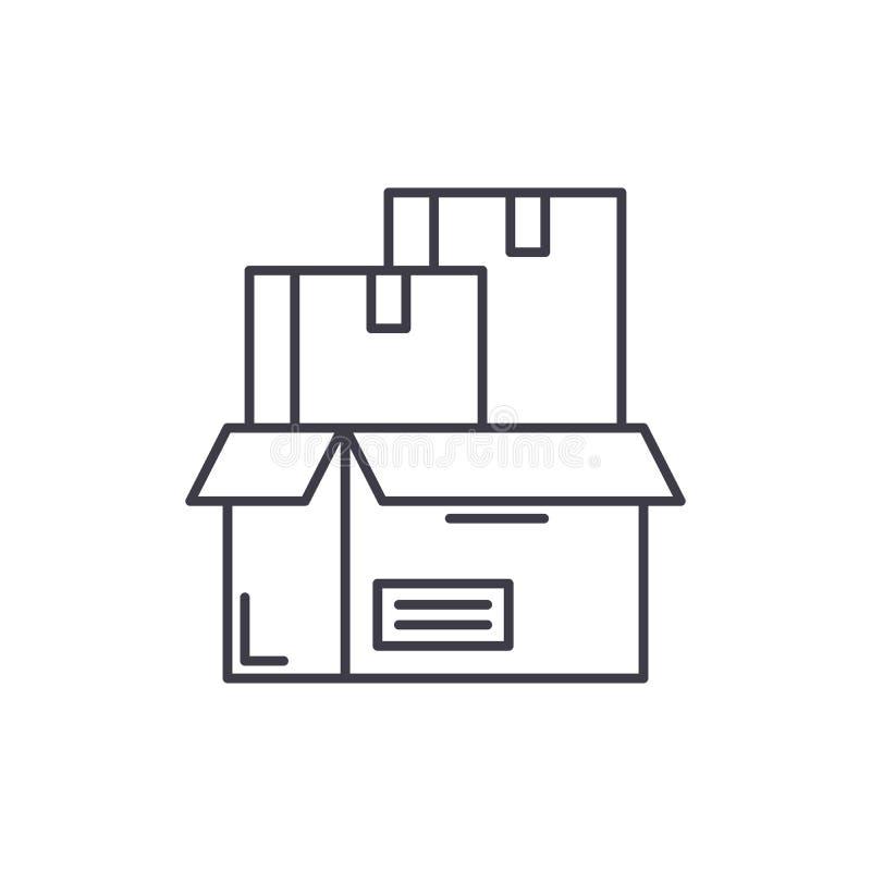 Έννοια εικονιδίων γραμμών συσκευασίας προϊόντων Προϊόν που συσκευάζει τη διανυσματική γραμμική απεικόνιση, σύμβολο, σημάδι