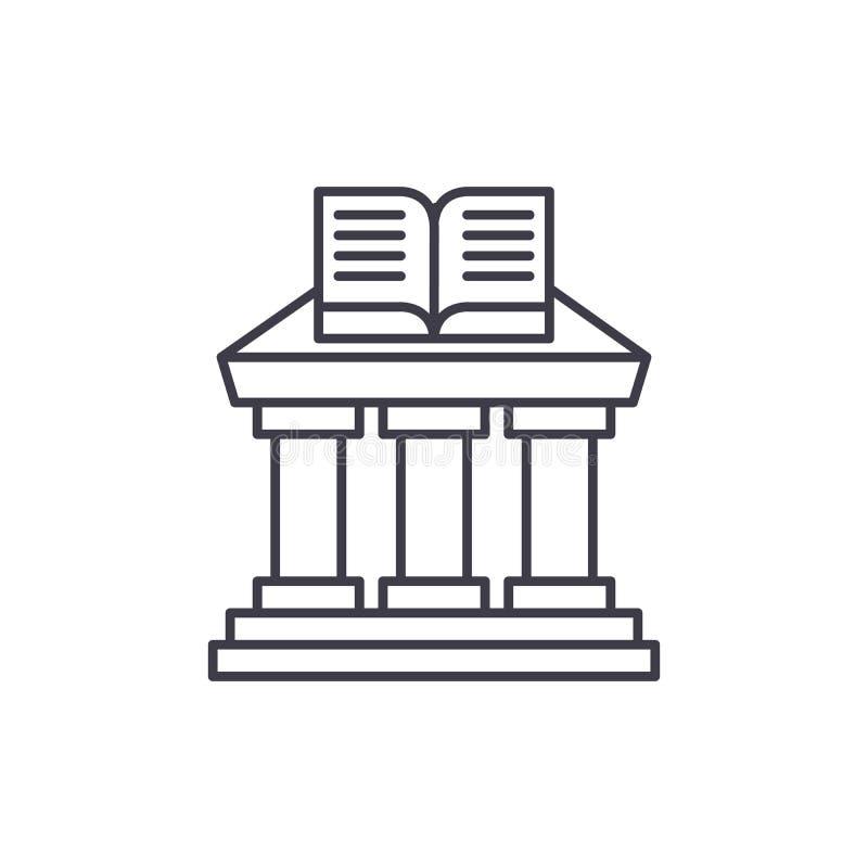Έννοια εικονιδίων γραμμών Υπουργείου Παιδείας Διανυσματική γραμμική απεικόνιση Υπουργείου Παιδείας, σύμβολο, σημάδι απεικόνιση αποθεμάτων