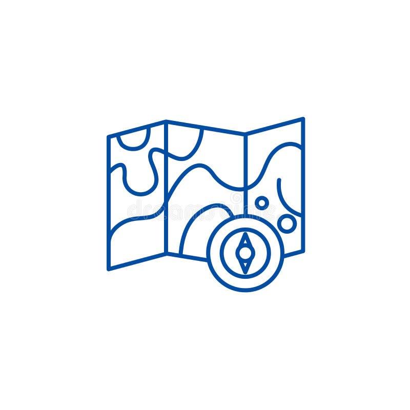 Έννοια εικονιδίων γραμμών χαρτών και πυξίδων Επίπεδο διανυσματικό σύμβολο χαρτών και πυξίδων, σημάδι, απεικόνιση περιλήψεων ελεύθερη απεικόνιση δικαιώματος
