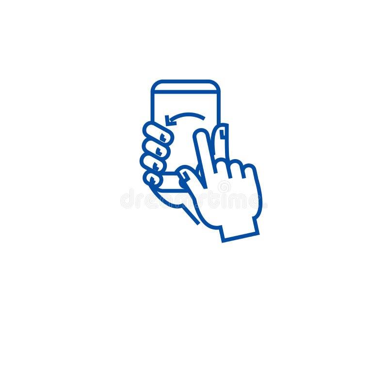 Έννοια εικονιδίων γραμμών χειρονομίας οθόνης αφής Επίπεδο διανυσματικό σύμβολο χειρονομίας οθόνης αφής, σημάδι, απεικόνιση περιλή ελεύθερη απεικόνιση δικαιώματος