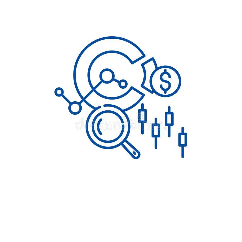 Έννοια εικονιδίων γραμμών χρηματιστηρίου Επίπεδο διανυσματικό σύμβολο χρηματιστηρίου, σημάδι, απεικόνιση περιλήψεων απεικόνιση αποθεμάτων
