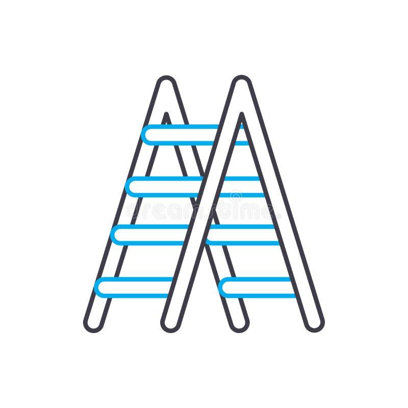 Έννοια εικονιδίων μετάλλων stepladder γραμμική Διανυσματικό σημάδι γραμμών μετάλλων stepladder, σύμβολο, απεικόνιση απεικόνιση αποθεμάτων