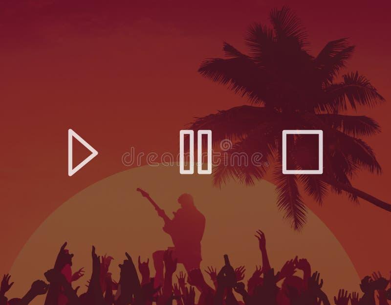 Έννοια εικονιδίων συμβόλων στάσεων μικρής διακοπής παιχνιδιού ελέγχου κουμπιών 'Ήχοσ' απεικόνιση αποθεμάτων