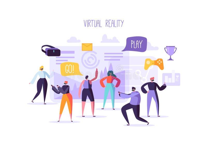 Έννοια εικονικής πραγματικότητας Επίπεδοι χαρακτήρες ανθρώπων που έχουν την παγκόσμια εμπειρία VR Τεχνολογία ψυχαγωγίας αυξημένη  διανυσματική απεικόνιση