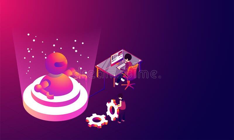 Έννοια εικονικής πραγματικότητας, τρισδιάστατη απεικόνιση του ρομπότ μεταξύ του digita απεικόνιση αποθεμάτων