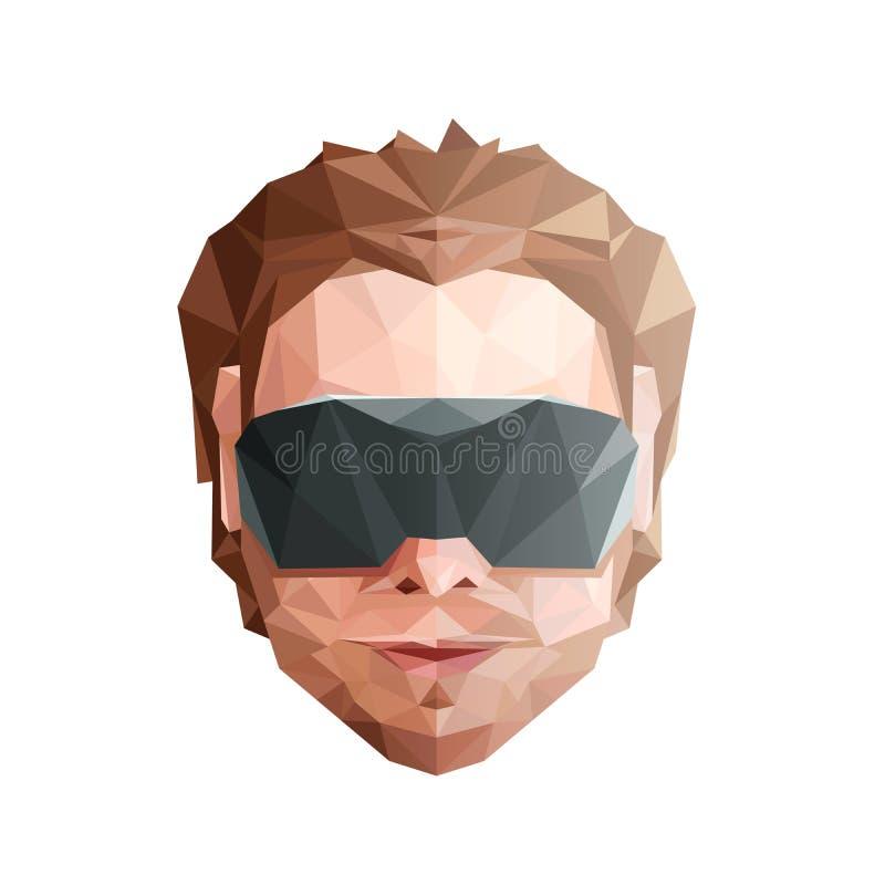 Έννοια εικονικής πραγματικότητας Χαμηλό πολυ κεφάλι με τα γυαλιά στοκ φωτογραφία