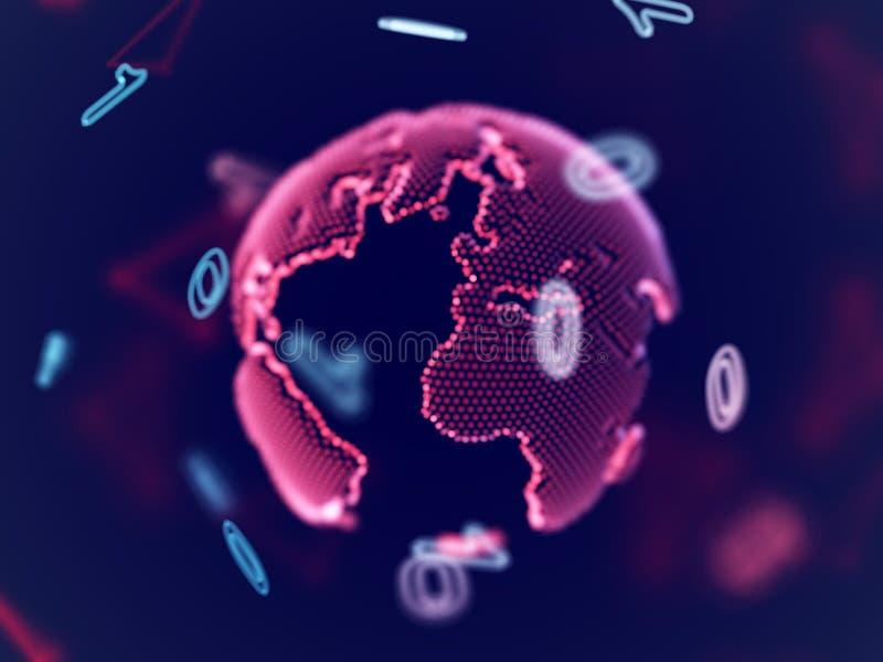 Έννοια εικονικής πραγματικότητας: ψηφιακός πλανήτης Γη στο δυαδικό κώδικα ελεύθερη απεικόνιση δικαιώματος
