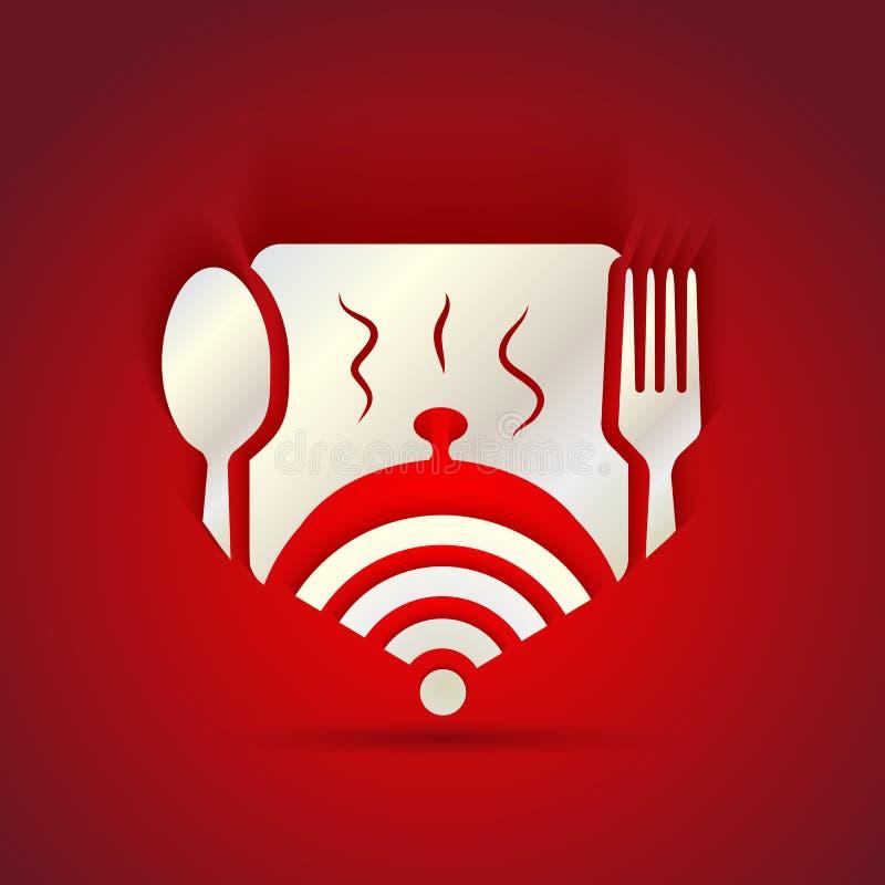 Έννοια εικονιδίων για τις επιλογές εστιατορίων και την ελεύθερη ζώνη WiFi ελεύθερη απεικόνιση δικαιώματος