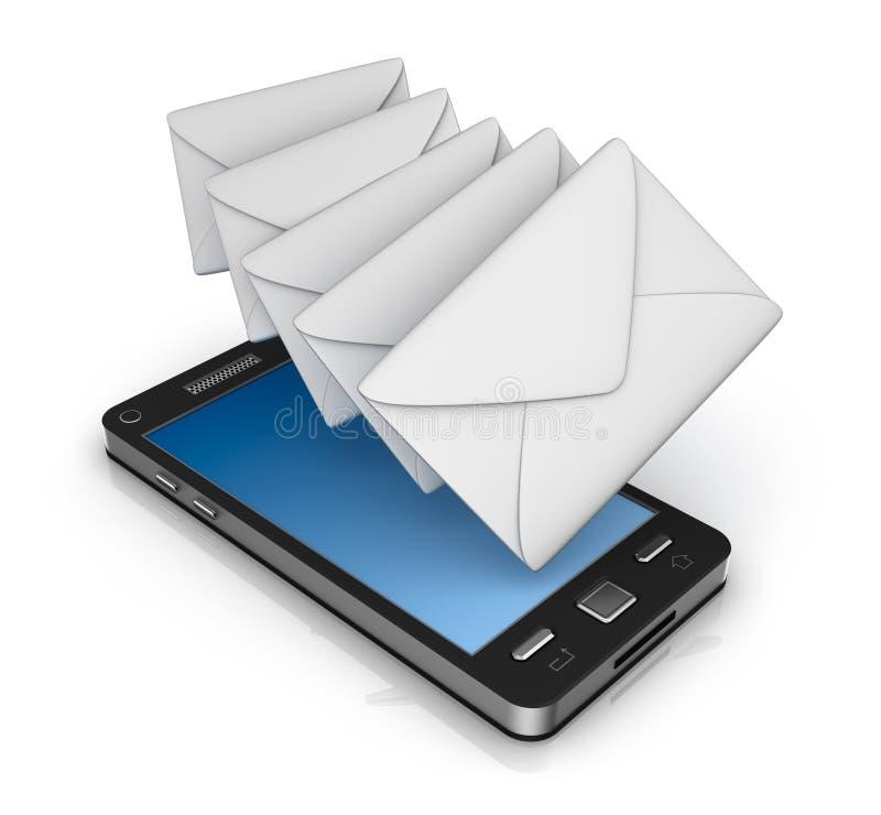 Έννοια εικονιδίων τηλεφωνικού ηλεκτρονικού ταχυδρομείου κυττάρων Στο λευκό απεικόνιση αποθεμάτων