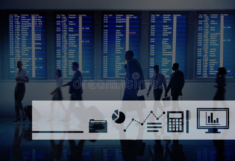 Έννοια εκθέσεων προόδου επιχειρησιακών εικονιδίων απεικόνιση αποθεμάτων
