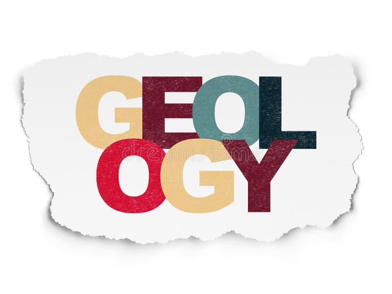 Έννοια εκμάθησης: Γεωλογία στο σχισμένο υπόβαθρο εγγράφου διανυσματική απεικόνιση