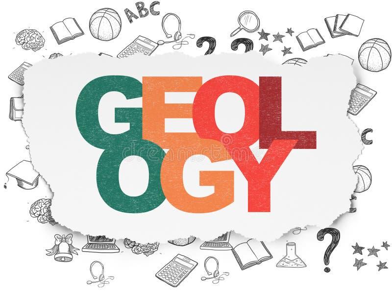 Έννοια εκμάθησης: Γεωλογία στο σχισμένο υπόβαθρο εγγράφου απεικόνιση αποθεμάτων