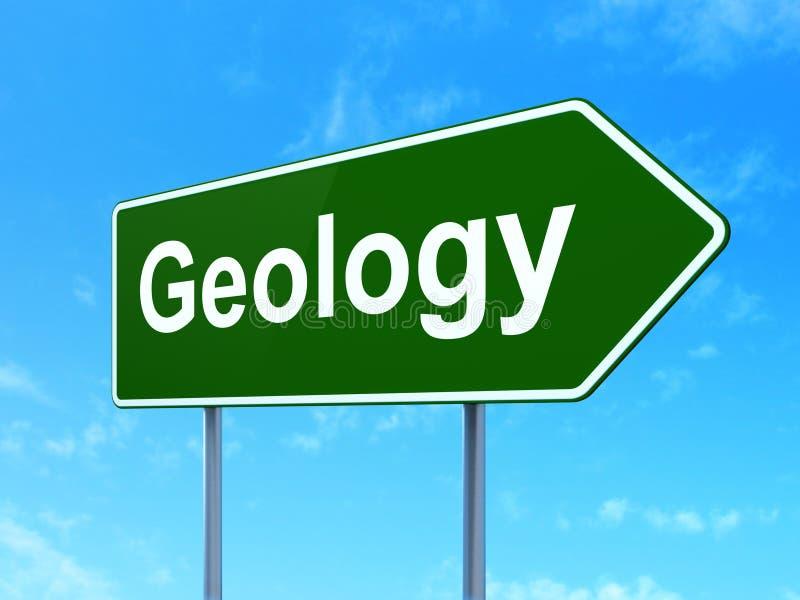 Έννοια εκμάθησης: Γεωλογία στο υπόβαθρο οδικών σημαδιών απεικόνιση αποθεμάτων