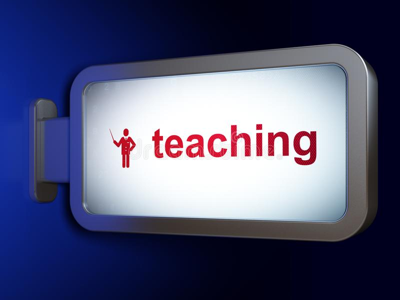 Έννοια εκμάθησης: Διδασκαλία και δάσκαλος στο υπόβαθρο πινάκων διαφημίσεων ελεύθερη απεικόνιση δικαιώματος