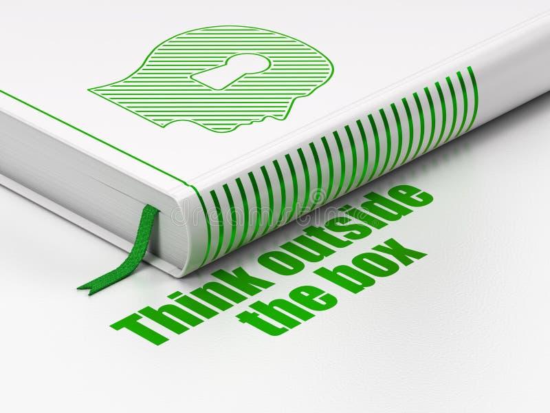 Έννοια εκμάθησης: το κεφάλι βιβλίων με την κλειδαρότρυπα, σκέφτεται έξω από το κιβώτιο στο άσπρο υπόβαθρο στοκ εικόνες με δικαίωμα ελεύθερης χρήσης