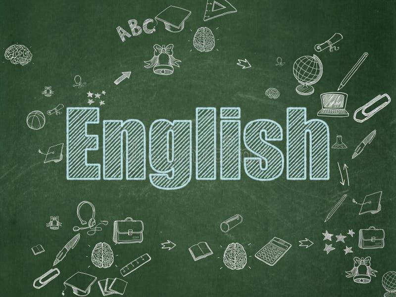 Έννοια εκπαίδευσης: Αγγλικά στο σχολικό πίνακα στοκ εικόνες