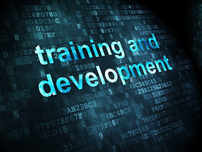 Έννοια εκπαίδευσης: Κατάρτιση και ανάπτυξη στο ψηφιακό backgroun διανυσματική απεικόνιση
