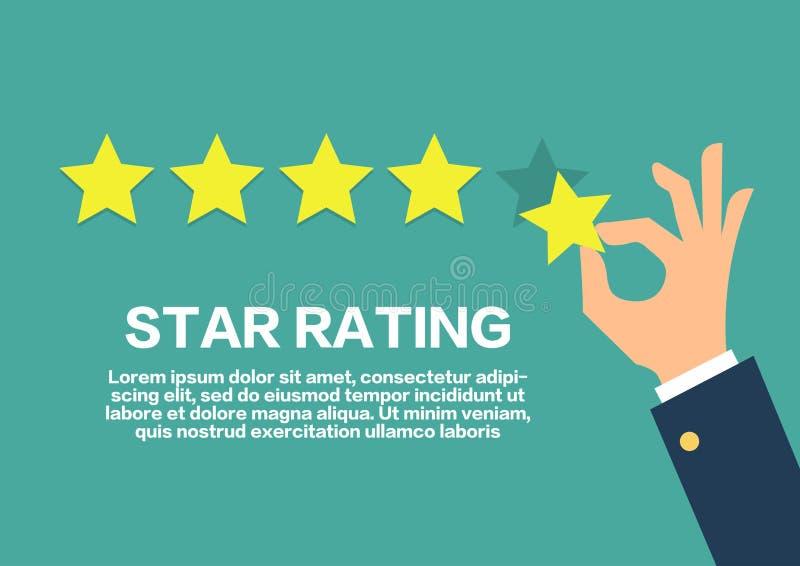 Έννοια εκτίμησης αστεριών Η αναθεώρηση πελατών δίνει έναν πέντε αστέρων θετικός ελεύθερη απεικόνιση δικαιώματος