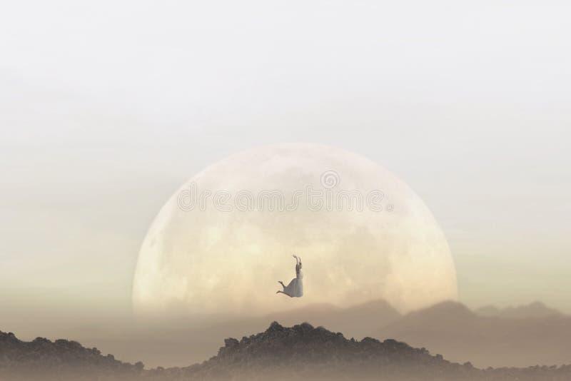 Έννοια ελευθερίας μιας γυναίκας που πηδά μπροστά από ένα γιγαντιαίο φεγγάρι στοκ εικόνες