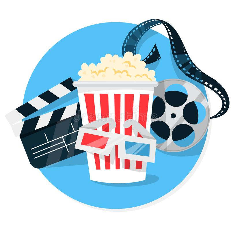 Έννοια εμβλημάτων Ιστού κινηματογράφων Λαϊκό καλαμπόκι, filmstrip, clapper ελεύθερη απεικόνιση δικαιώματος