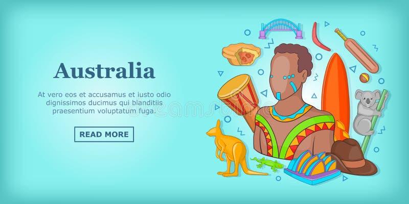 Έννοια εμβλημάτων ταξιδιού της Αυστραλίας, ύφος κινούμενων σχεδίων διανυσματική απεικόνιση