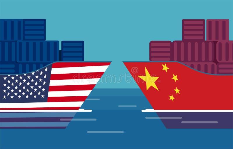 Έννοια εμπορικών πολέμων της Κίνας και των Ηνωμένων Πολιτειών Διάνυσμα δύο φορτηγών πλοίων διανυσματική απεικόνιση