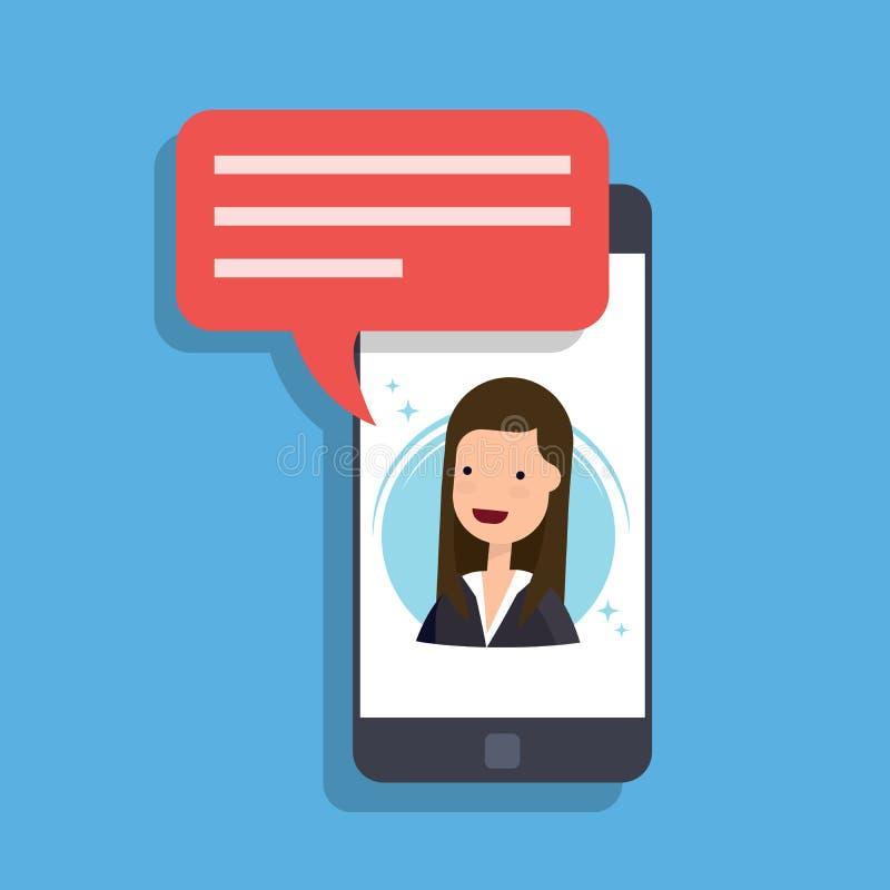 Έννοια ενός εισερχόμενου μηνύματος σε ένα κινητό τηλέφωνο Η επιχειρηματίας ή ο διευθυντής μιλά στην οθόνη smartphone Τηλεοπτική κ απεικόνιση αποθεμάτων
