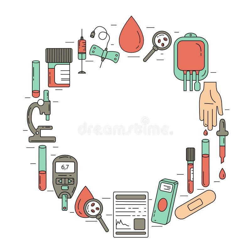 Έννοια εξετάσεων αίματος Διανυσματική απεικόνιση με τα στοιχεία ανάλυσης αίματος ελεύθερη απεικόνιση δικαιώματος