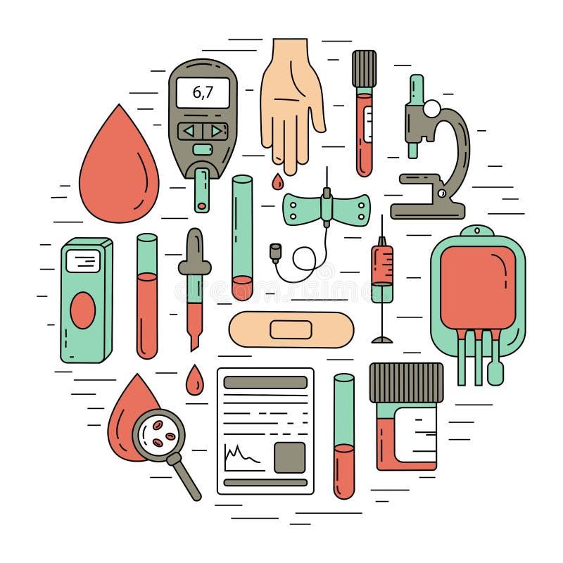 Έννοια εξετάσεων αίματος Διανυσματική απεικόνιση με τα στοιχεία ανάλυσης αίματος απεικόνιση αποθεμάτων