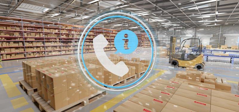 Έννοια εξυπηρέτησης πελατών σε μια τρισδιάστατη απόδοση υποβάθρου αποθηκών εμπορευμάτων απεικόνιση αποθεμάτων