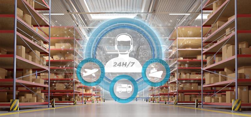 Έννοια εξυπηρέτησης πελατών σε μια τρισδιάστατη απόδοση υποβάθρου αποθηκών εμπορευμάτων στοκ εικόνα με δικαίωμα ελεύθερης χρήσης