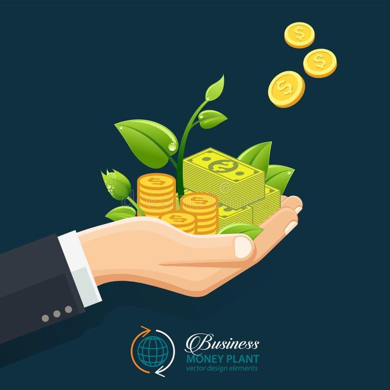 Έννοια επένδυσης επιχειρηματιών Χέρι που δίνει τα χρήματα, νομίσματα με το νεαρό βλαστό ελεύθερη απεικόνιση δικαιώματος