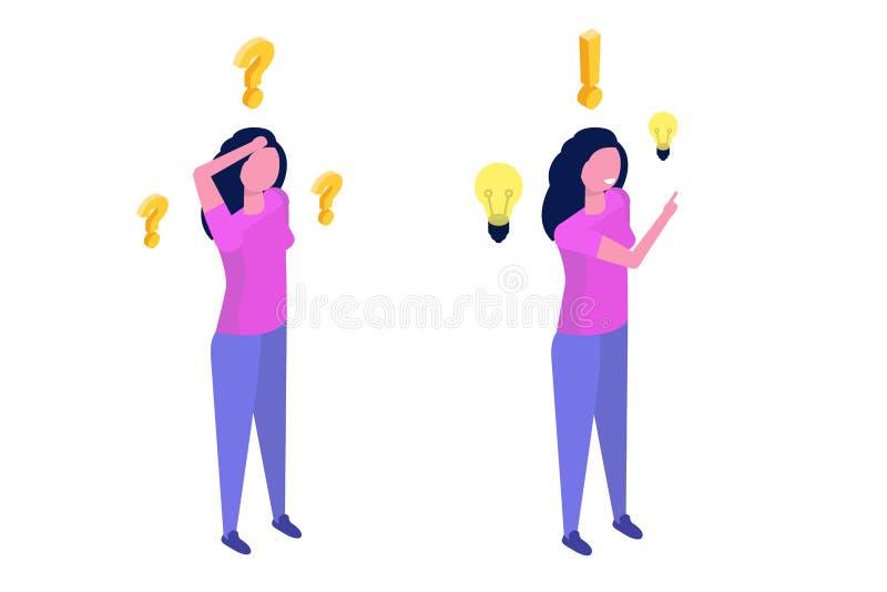 Έννοια επίλυσης προβλήματος Isometric γυναίκα που σκέφτεται με το ερωτηματικό διανυσματική απεικόνιση