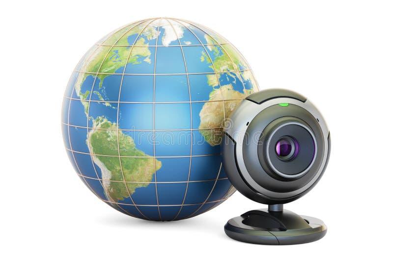 Έννοια επικοινωνίας Διαδικτύου, γήινη σφαίρα με το webcam τρισδιάστατο rend απεικόνιση αποθεμάτων