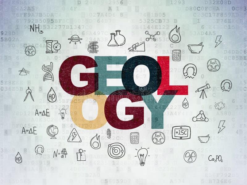 Έννοια επιστήμης: Γεωλογία στο υπόβαθρο εγγράφου ψηφιακών στοιχείων διανυσματική απεικόνιση