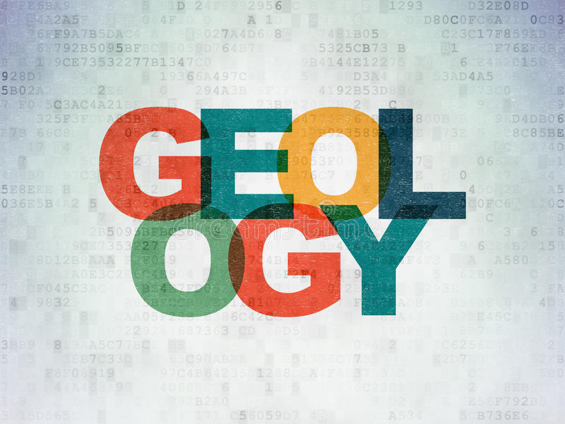 Έννοια επιστήμης: Γεωλογία στο υπόβαθρο εγγράφου ψηφιακών στοιχείων απεικόνιση αποθεμάτων