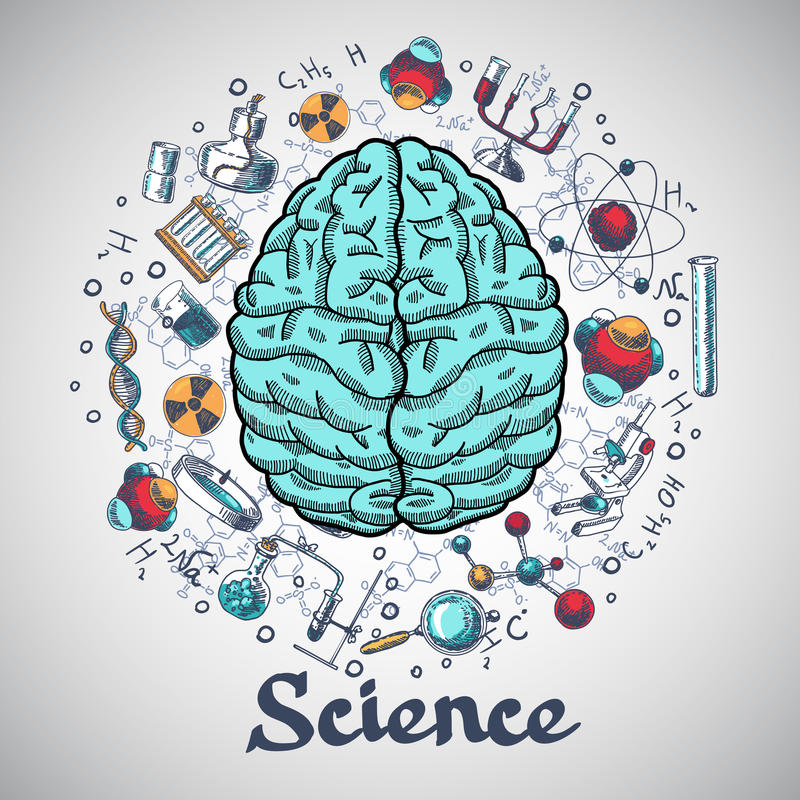 Έννοια επιστήμης σκίτσων εγκεφάλου απεικόνιση αποθεμάτων