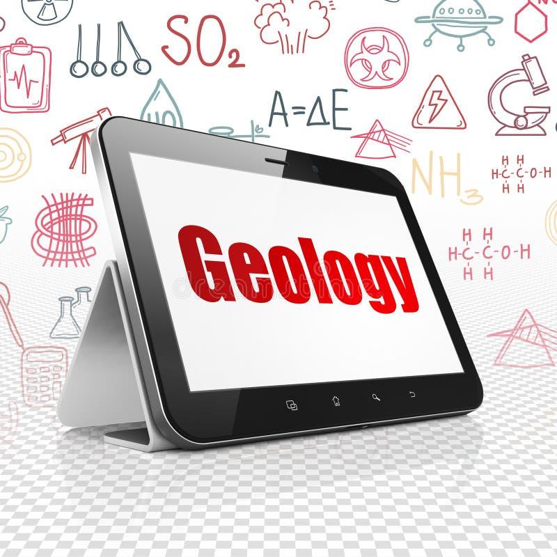 Έννοια επιστήμης: Υπολογιστής ταμπλετών με τη γεωλογία στην επίδειξη διανυσματική απεικόνιση