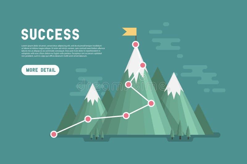 Έννοια επιτυχίας επιχειρησιακού στόχου infographic Σημαία στην κορυφή του βουνού απεικόνιση αποθεμάτων