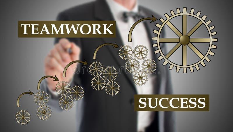 Έννοια επιτυχίας ομαδικής εργασίας που σύρεται από έναν επιχειρηματία στοκ εικόνες με δικαίωμα ελεύθερης χρήσης