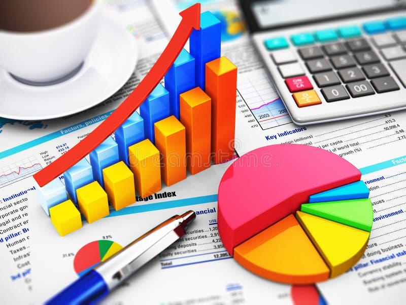 Έννοια επιχειρήσεων, χρηματοδότησης και λογιστικής απεικόνιση αποθεμάτων