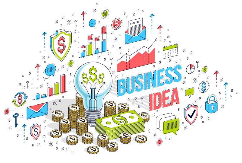 Έννοια επιχειρησιακής δημιουργική ιδέας, λάμπα φωτός με το σωρό χρημάτων μετρητών και σωροί νομισμάτων τρισδιάστατη διανυσματική  ελεύθερη απεικόνιση δικαιώματος